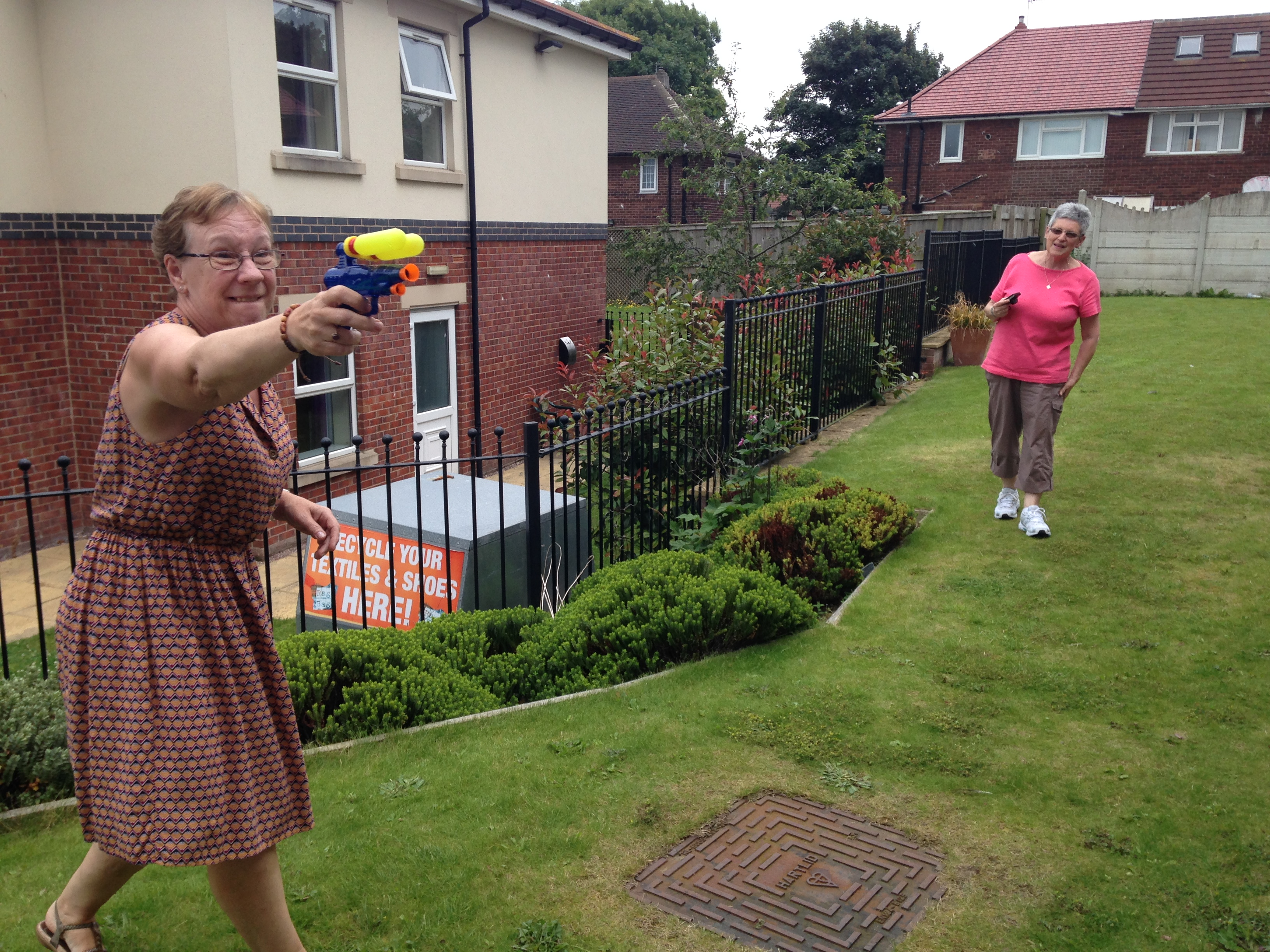 Janet with her water pistol